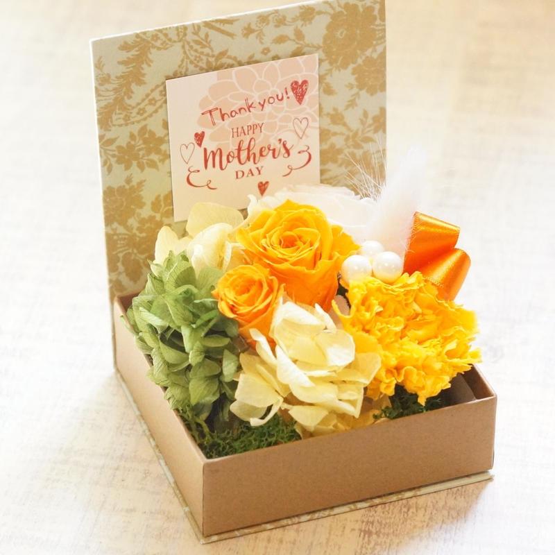 母の日プリザーブドフラワーギフトbox /orange
