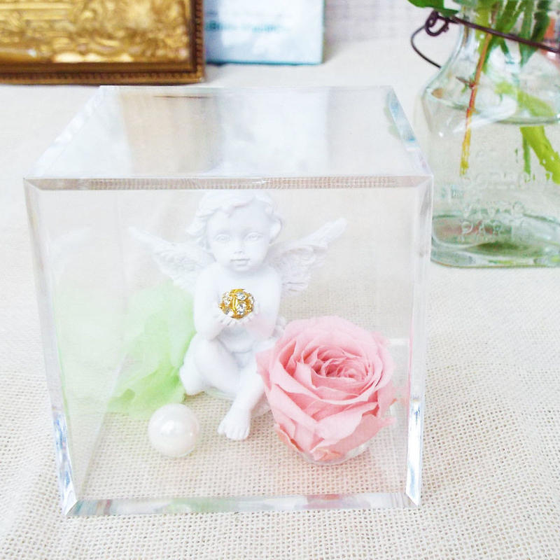 プリザーブドローズと天使のアレンジメント【pink】