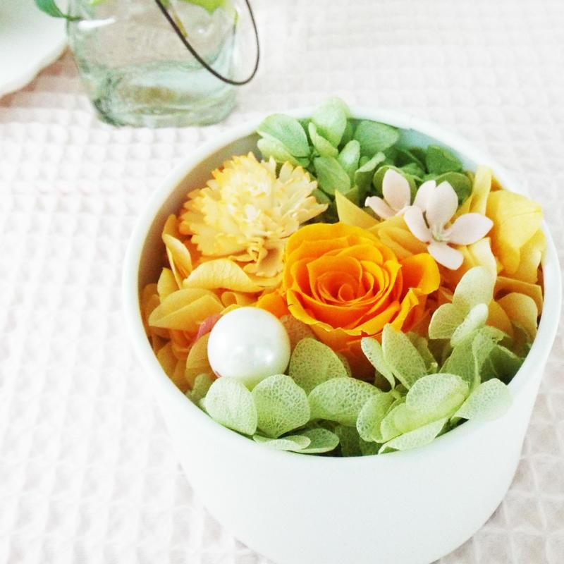 プリザーブド BOXアレンジメント/ラウンド 【orange】