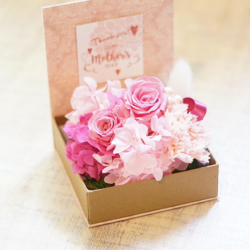 母の日プリザーブドフラワーギフトbox/pink