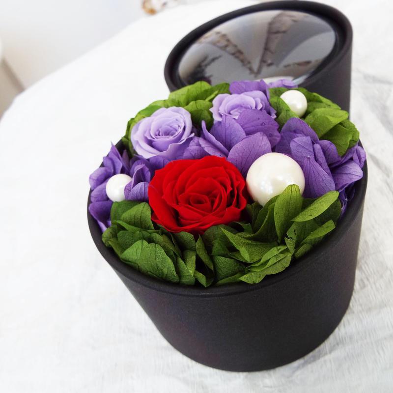 プリザーブドローズのBOXアレンジメント【red&purple】
