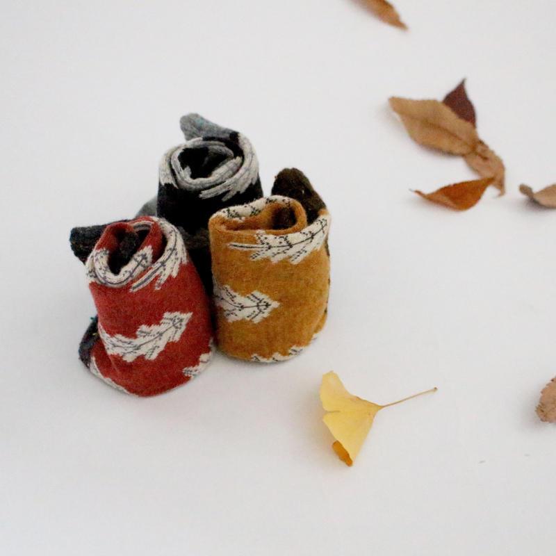 3color-winter tree cotton socks
