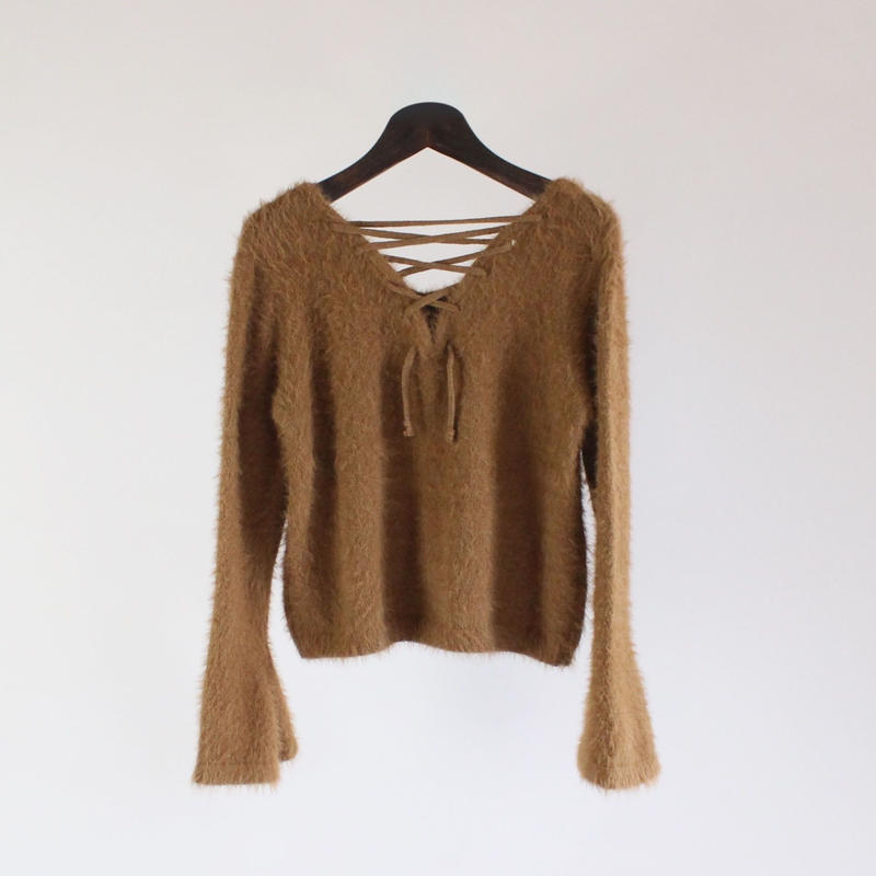 2colors-tie-line rabbit fur sweater