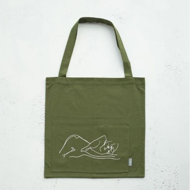 """alone""hand print tote bag"