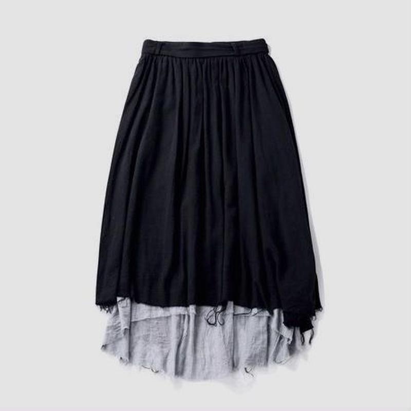 linen rough cut long skirts