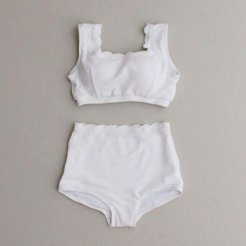 2colors-cotton scallop bikini