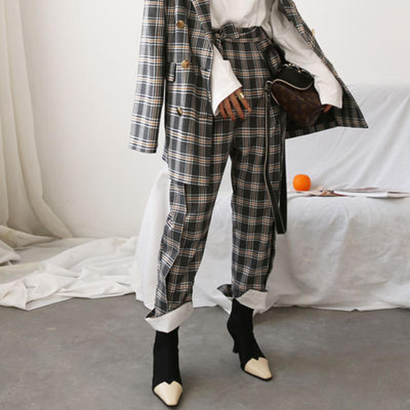 retro classic check suit pants