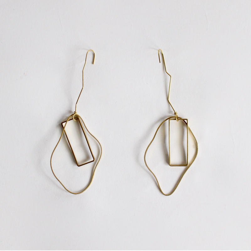 wire earrings (hand-knit)