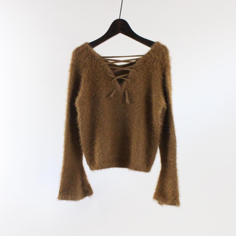 2colors-tie-line rabbit fur sweater