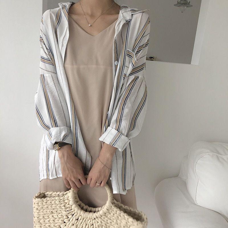 vertical stripes loose shirt