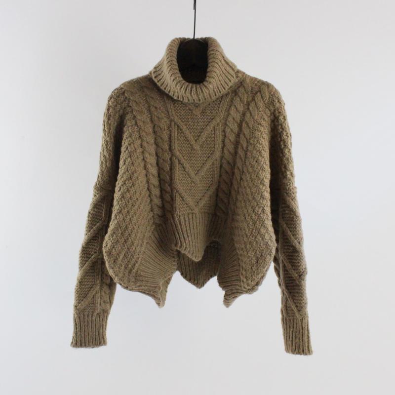 high-neck twist sweater