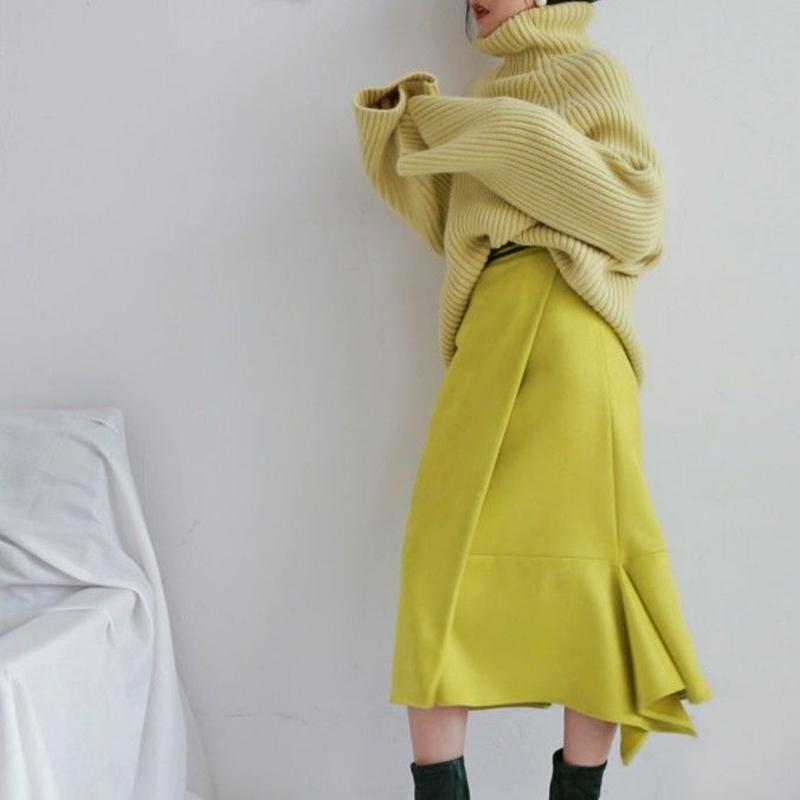 lemon suede irregular skirt