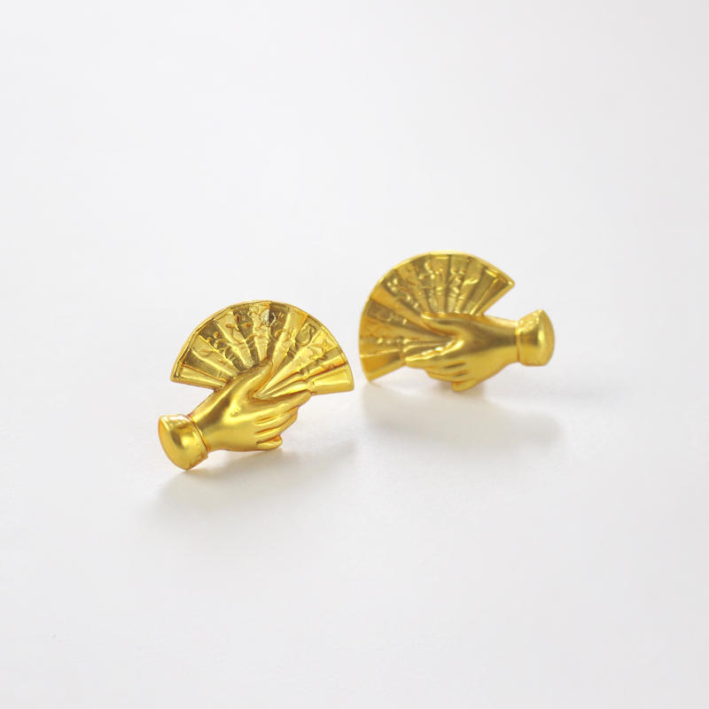 gold folding fan earrings