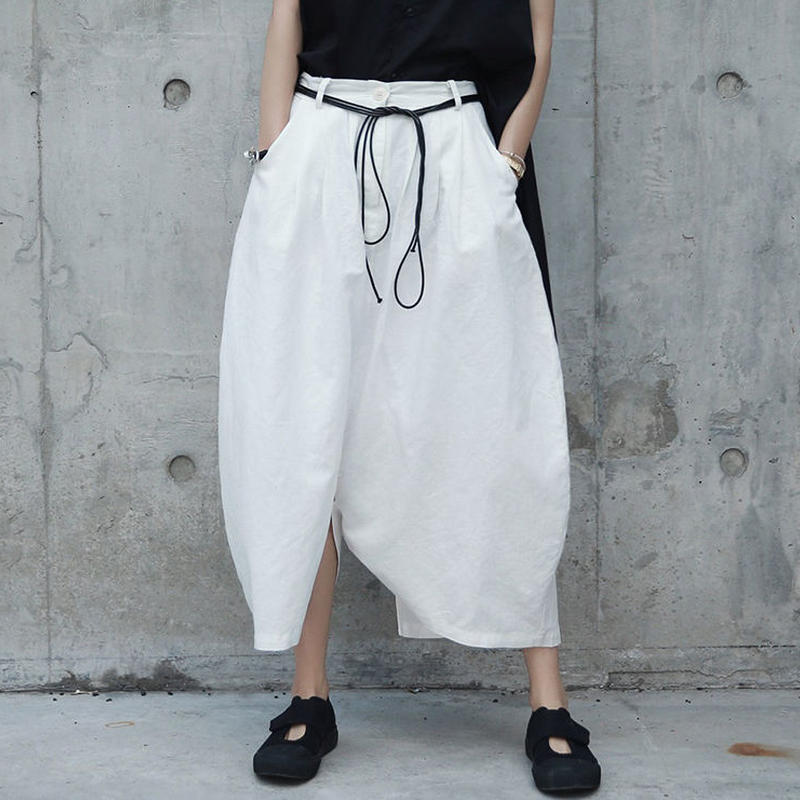 arc snaped linen pants skirt