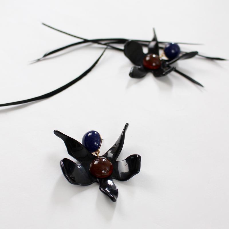 black flower acrylic earrings