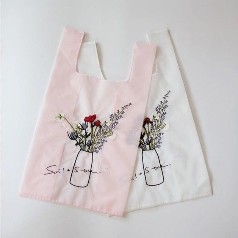 2colors - tulle embroidery tote bag