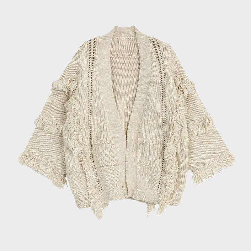 fringe wool cardigan coat