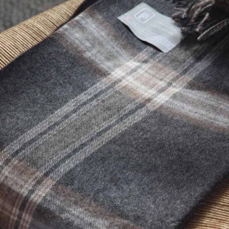 【新品】Baby Alpaca ベビーアルパカ 100% ブランケット デンマーク Danish Art Weaving社 グレイ/ブラウン alpaca_79_12252018