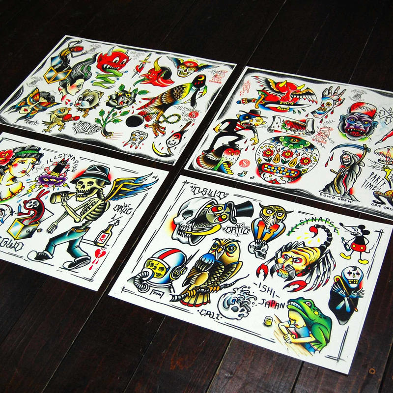 "Split tattoo flash Set with ""Opie Ortiz"""
