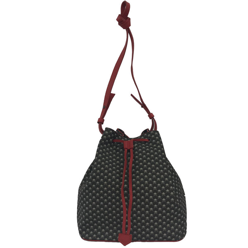 【VERDINO  PARIS】ヴェルディーノ Hexagone Bucket   Black/Red ヘキサゴン/幾何学模様  巾着バッグ   ブラック/レッド