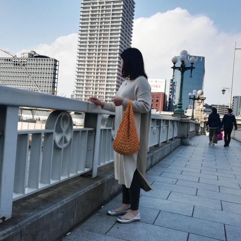 【京shibori bag byÄmont】三浦しぼり(小)和柄×金魚 からし