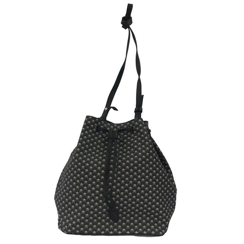 【VERDINO  PARIS】ヴェルディーノ Hexagone Bucket  Black/Black ヘキサゴン/幾何学模様  巾着バッグ  ブラック/ブラック