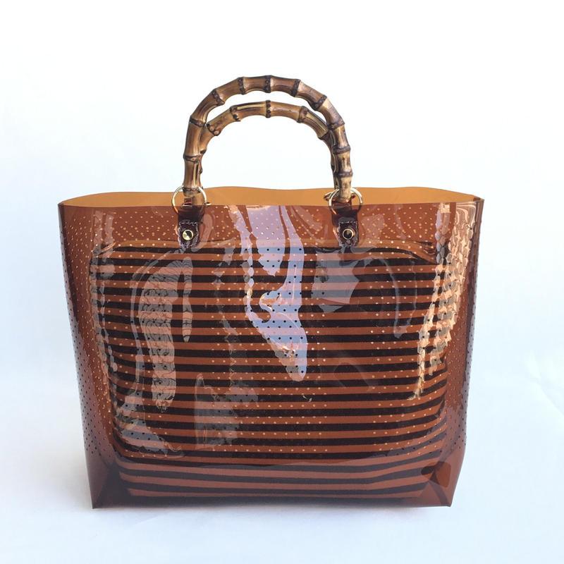 【Ämont Petit アモンプティ】85102 BR クリアトート ブラウン クリア素材 インナーポーチ付き バンブーハンドルバッグ