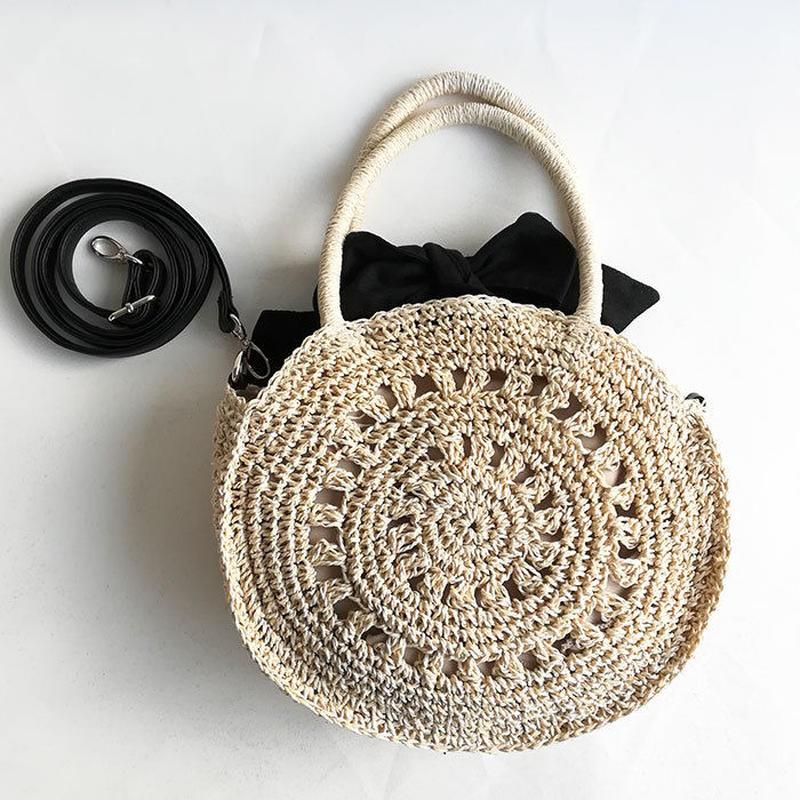 【Ämont Petit アモンプティ】85053 OWH リボン付き丸型ハンドバッグ オフホワイト ストロー風 ペーパー素材