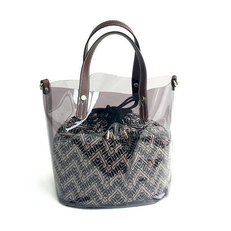 【Ämont Petit アモンプティ】85123 BK クリアトート ブラック クリア素材 インナー巾着袋付き 2WAYバッグ