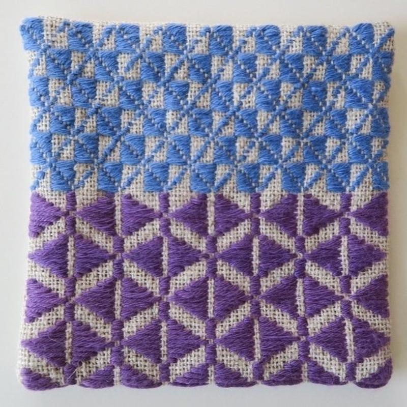 南部菱刺しコースター、紫×青、倉茂洋美 再オーダー中