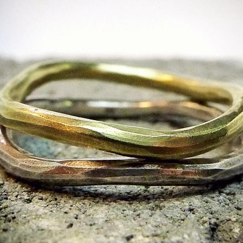 シルバー&真鍮2本セット/付け方によって表情がかわるリング