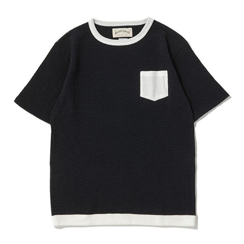 ※SEERSUCKER JERSEY POCKET S/S TEE -DARK NAVY- H185-0302
