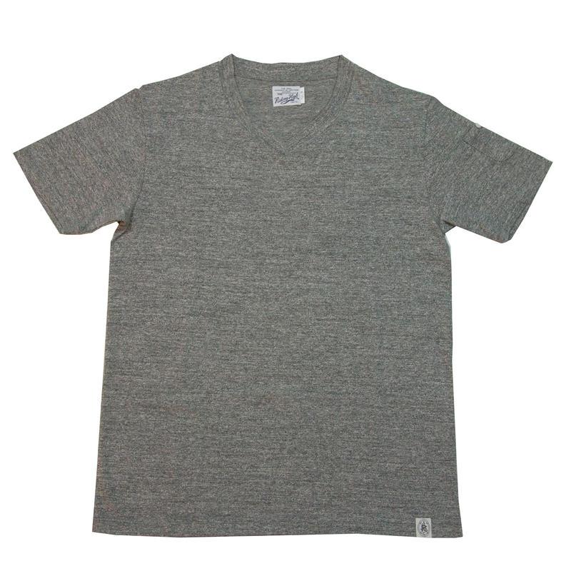 LOOPWHEEL V-NECK T-SHIRTS -MIX GRAY-