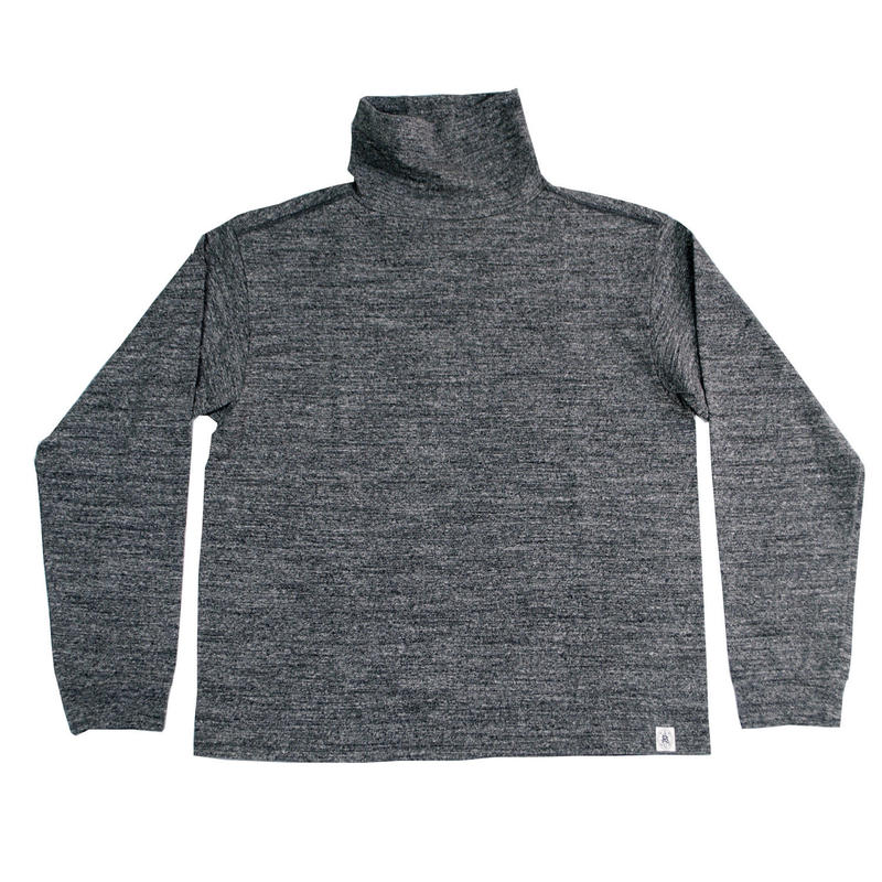 LOOPWHEEL HIGH NECK L/S TEE -MIX CHARCOAL- R185-0106