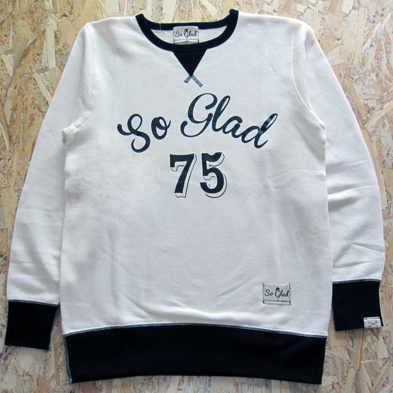 So Glad Vintage French Terry Sweat V・White×Black