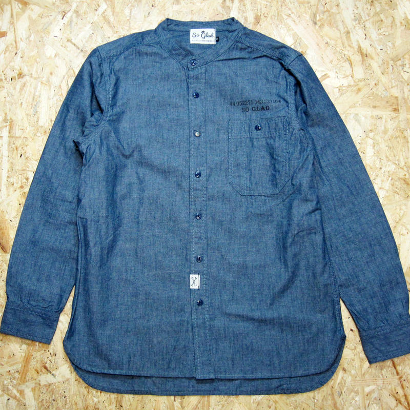 So Glad Band Collar Chambray Shirt Blue