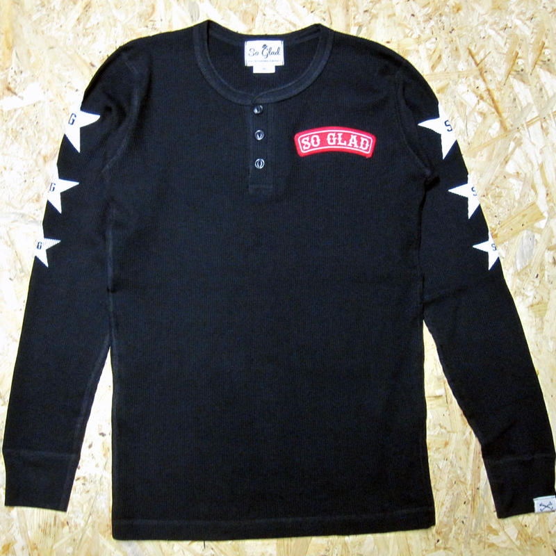 So Glad Waffle Henry Neck L/S TEE Black