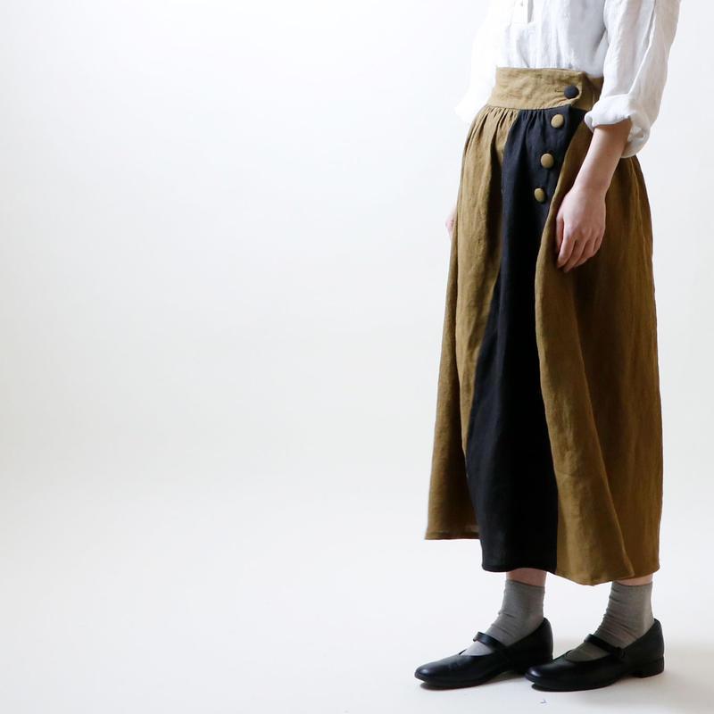 天日干しリネン・オブリーク・スカート/カーキxブラック
