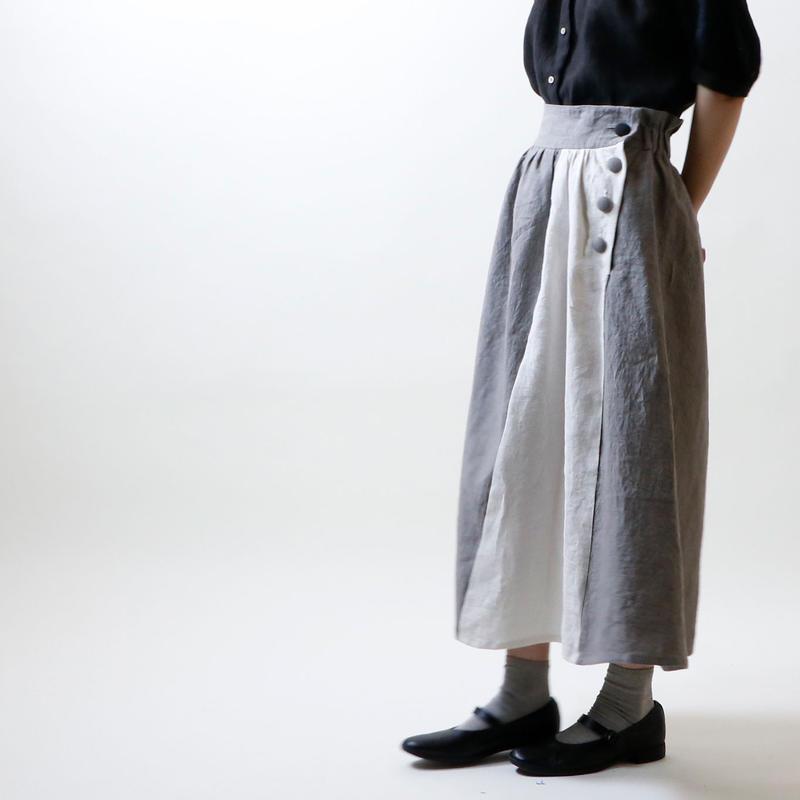 天日干しリネン・オブリーク・スカート/グレーXオフホワイト