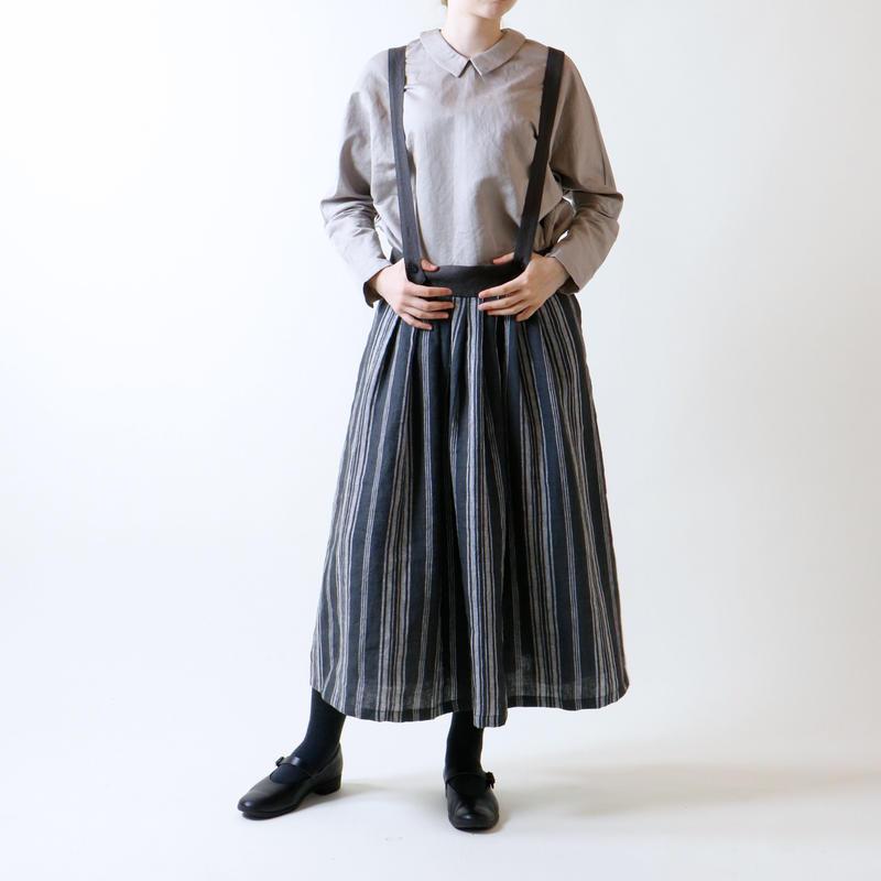フレンチストライプリネン・サスペンダースカート/チャコール