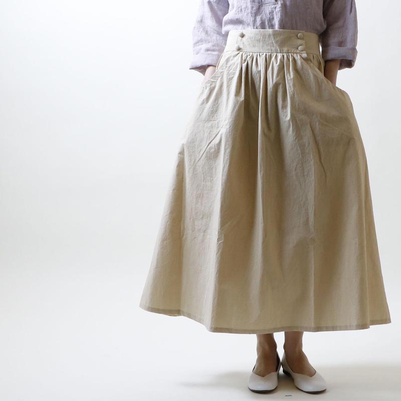 硫化染めコットン・ギャザースカート/アイボリー