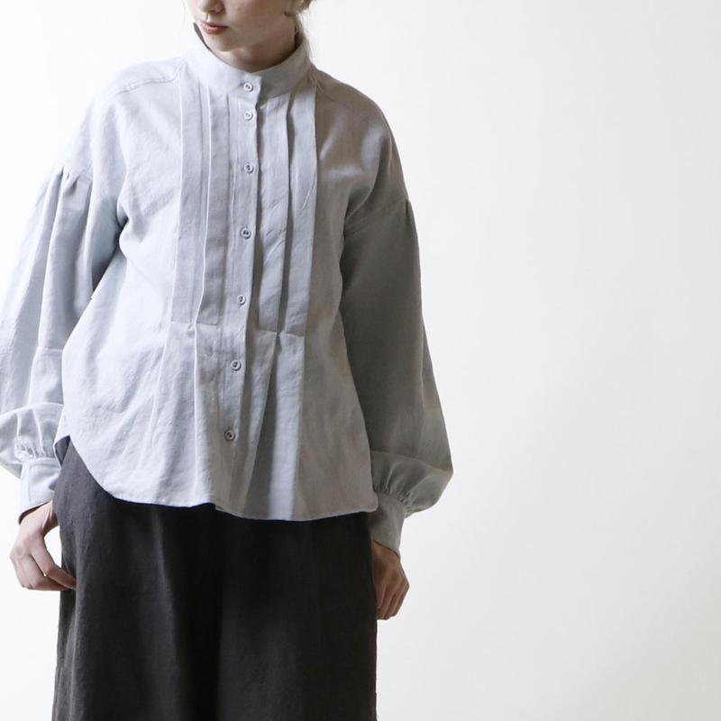 東炊きコットンビエラ・タック・ブラウウス/スモーク・ライトブルー