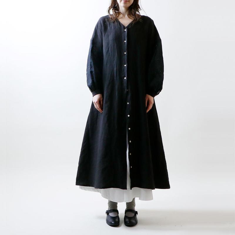 天日干しリネンXピンホールドットリネン・ワンピース/ブラック