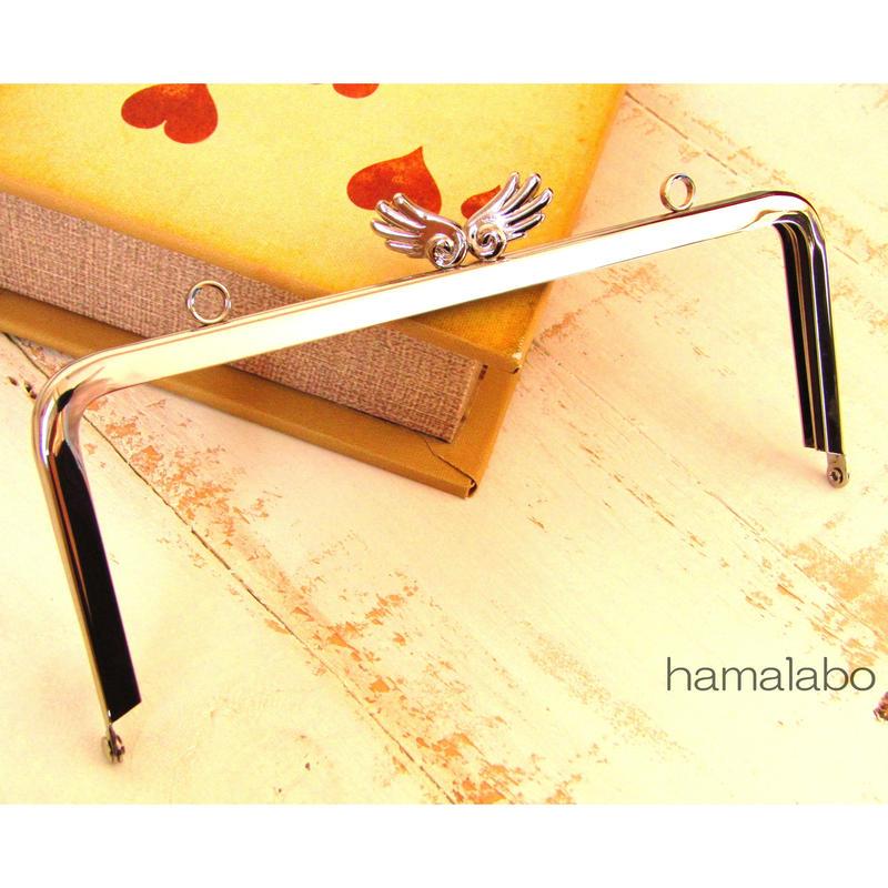 11月21日販売開始!【HA-490】18cm角型/「天使の羽」の口金(シルバー)カン付き