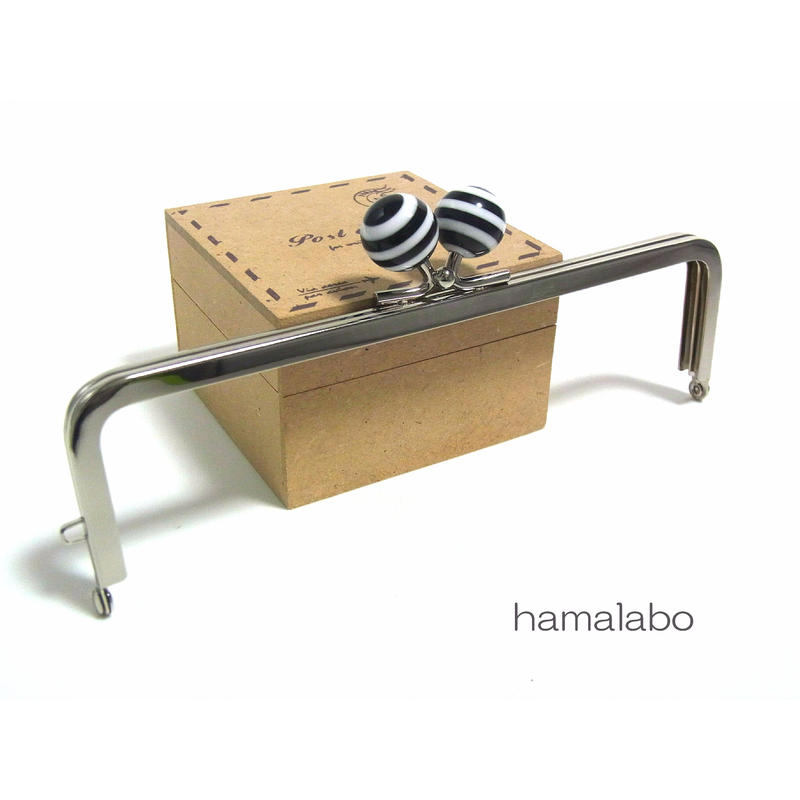 <廃盤予定>売り切り価格!【HA-1251】16.5cm/角型(黒×白のマリンボーダー)・シルバー