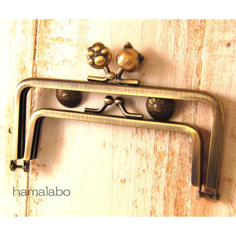 【HA-1421】親子口金 12cm(ネコ玉×肉球×アンティークゴールド)