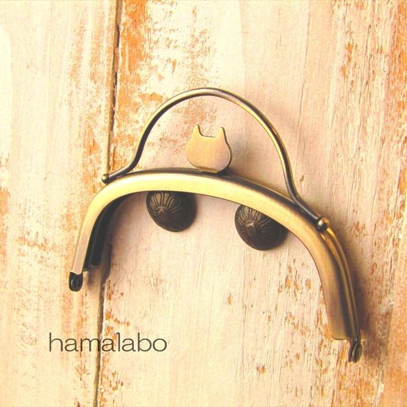 4月10日販売開始!【HA-1582】ネコ型タイプ!持ち手付きの押し口金10cm/くし型(アンティークゴールド)