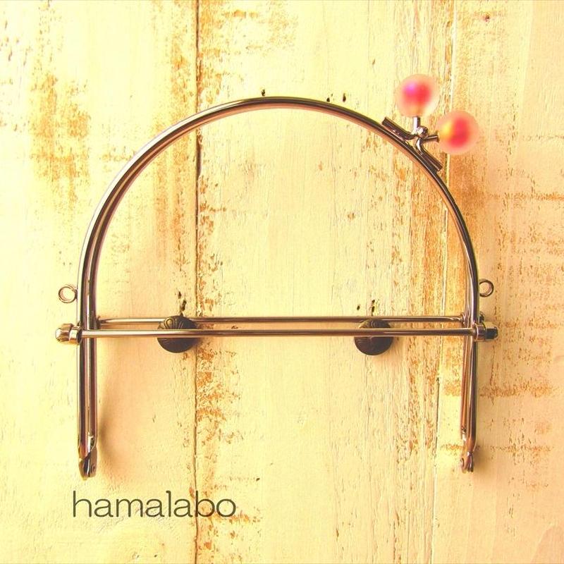 7月4日販売開始!【HA-1628】16cmベンリー口金/(スモーク玉レッド×シルバー)・カン付き
