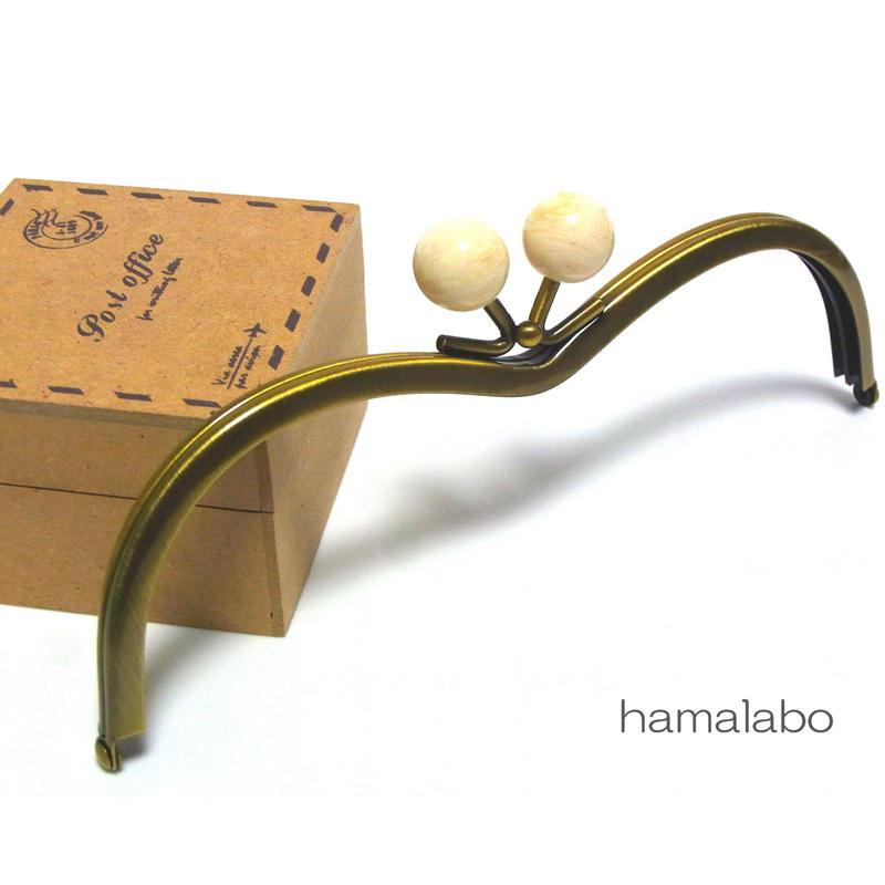 【HA-174】メガネ型(白玉×アンティークゴールド)