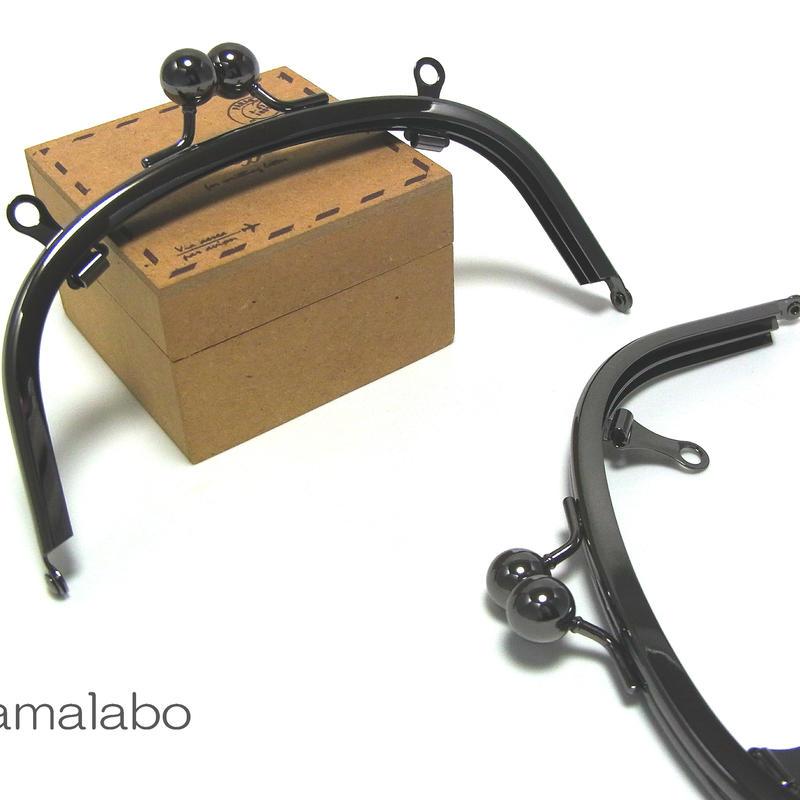<廃盤予定>【HA-144】アメ玉口金 15cm/くし型(ブラック)・兼用カン付き
